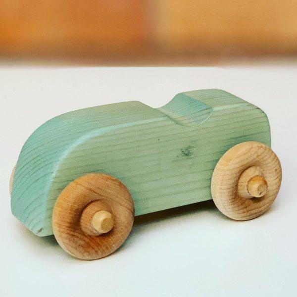light green wooden toy car