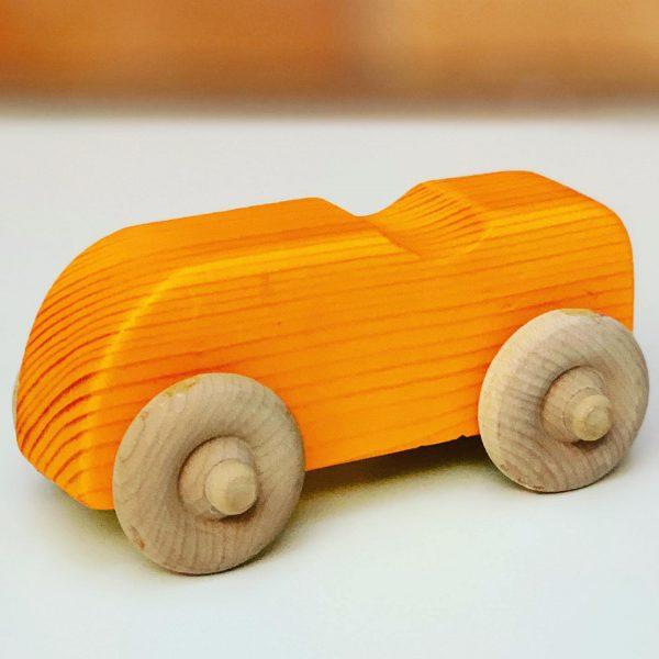 orange wooden toy car