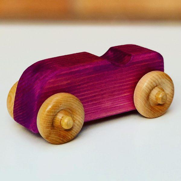 purple wooden toy car